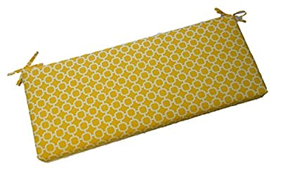 "Indoor / Outdoor Yellow and White Geometric Hockley 2"" Thick Cushion with Ties for Bench ~ Swing ~ Glider, Choose Size (58"" x 17"")"