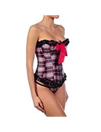 Intimax Escoces Red and Black Tartan Corset and Thong Set C117