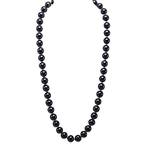 JYX Pearl Necklace Elegant High-Lustre 12mm Round Black Pearl Seashell Necklace for Women 28