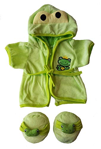 - Stuffems Toy Shop Frog Robe & Slippers Pajamas Outfit Teddy Bear Clothes Fit 14