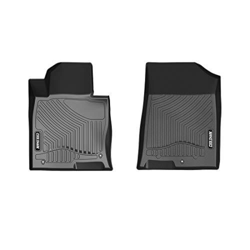 (COOLSHARK Hyundai Sonata Front Floor Mats, Waterproof Floor Liners Custom Fit for 2015-2019 Hyundai Sonata / 2016-2019 KIA Optima,Front Row Only-All Weather Guard-Black)