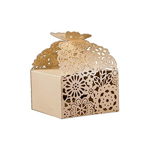 Floral Pattern Favor Boxes - KAZIPA 50pcs Laser Cut Favor Boxes, 2.6