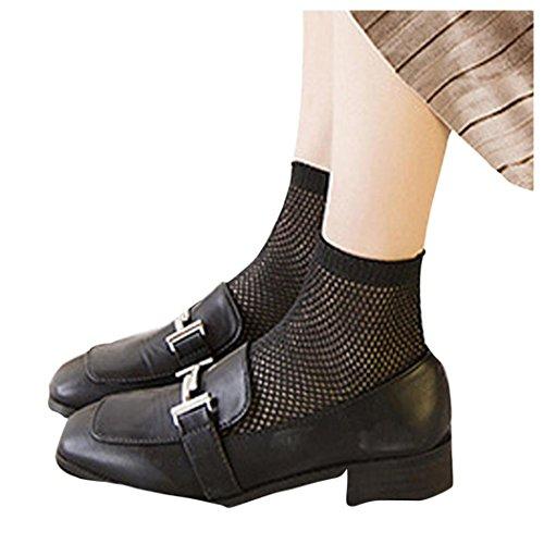 Women Fishnet Socks, Inkach Girls Lace Hollow Ruffle Fishnet Ankle High Socks Mesh Lace Fish Net Short Socks Black
