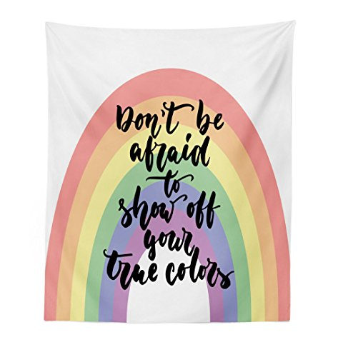 (Lunarable Pride Tapestry, LGBT Calligraphy Don't be Afraid to Show Off Your True Colors Message with Rainbow, Fabric Wall Hanging Decor for Bedroom Living Room Dorm, 23 W X 28 L inches, Multicolor)