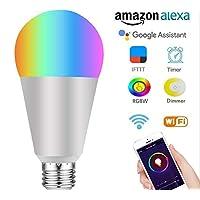 Bombilla de luz LED inteligente, bombillas Wi-Fi 7W, controlada por teléfono inteligente regulable, compatible con Alexa, Asistente de inicio de Google, No se requiere hub, E26