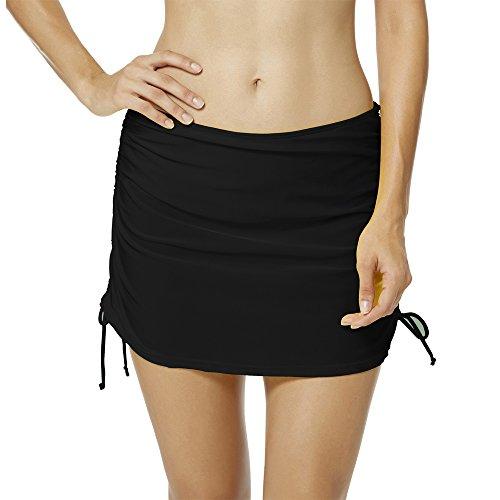 (upandfast Women's Swim Skirts Breathable Skirted Bikini Bottom Swimdress(4,Black))