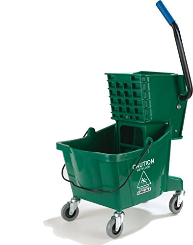 Carlisle 3690809 Commercial Mop Bucket with Side Press Wringer, 26 Quart Capacity, Green