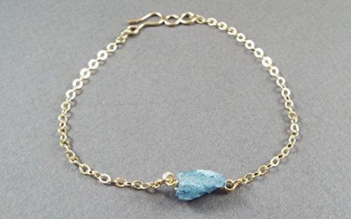- Raw Aquamarine Simple Bracelet Gold Filled (Medium)