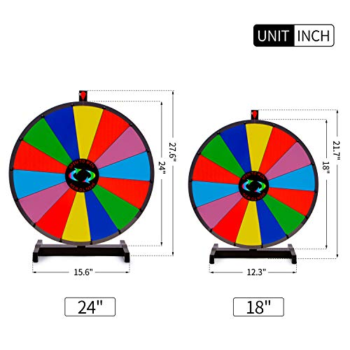 T Sign 18 Heavy Duty Tabletop Spinning Prize Wheel 14 Slots Color