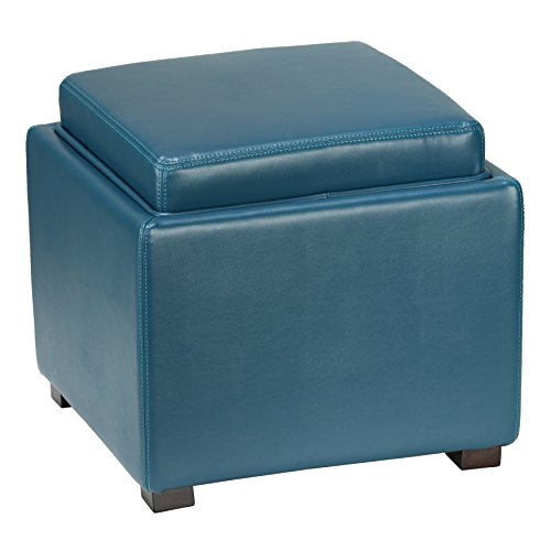 Cheap Cortesi Home Mavi Storage Tray Ottoman in Bonded Leather, Deep Turquoise Blue