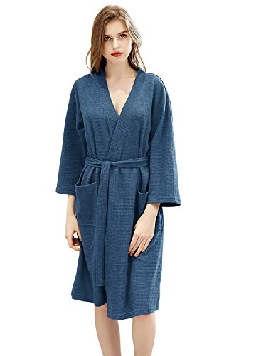 Womens Waffle Kimono Robes Knee Length Summer Lightweight Soft Cotton Bathrobe Bridesmaid Hotel Spa Pajamas Sleepwear Blue ()