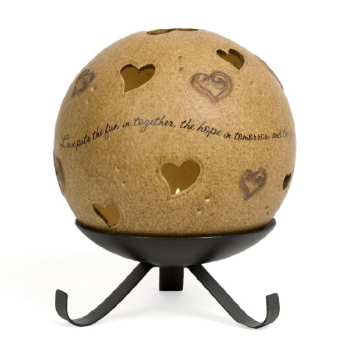 Pavilion Gift Company Comfort Candles 5-Inch Round Candle Holder Pierced with Hearts, (Love Heart Candle)