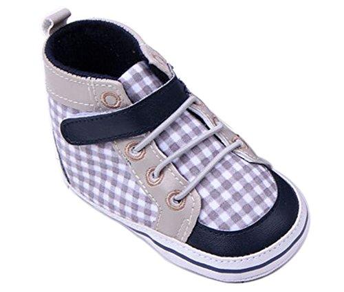 Femizee Toddler Baby Boys Plaid Deep Blue Cotton Blend Boot Shoes 9-12 Months
