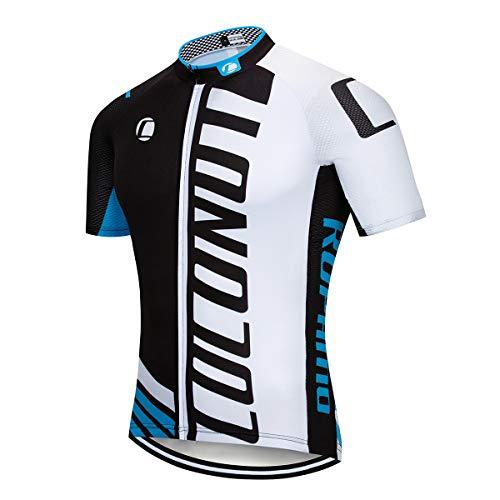 Short Sleeve Full Zip Bike Biking Shirt Bicycle Jersey Cycling Tops, Quick-Dry (Black/Blue, L) ()