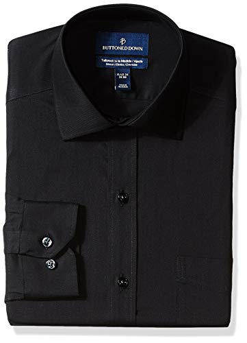 (BUTTONED DOWN Men's Tailored Fit Stretch Twill Non-Iron Dress Shirt, Black, 16.5