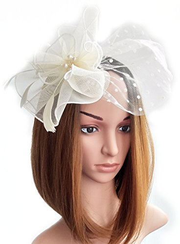 Womens Fascinators Hat Hair Clip Feather Beads Dot Veil for Cocktail Headwear Party Headpieces (Party Headpiece)