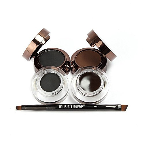 Brown Powder Eyeliner - 4 in 1 Gel Eyeliner and Eyebrow Powder Kit Brown Black Water-proof with Eye Liner Brush