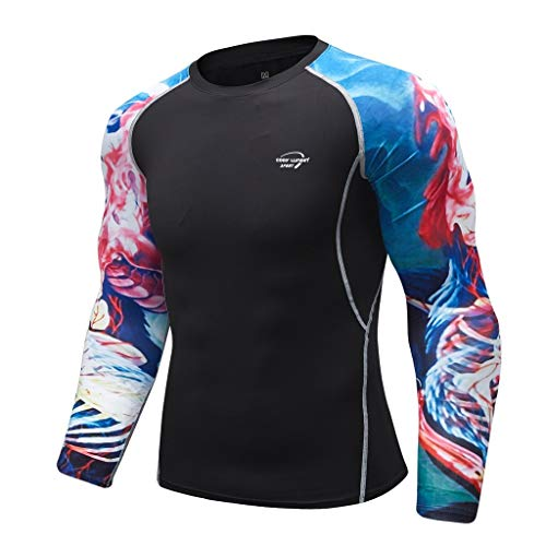 Men's Breathable Long Sleeve Yoga Fitness Print Sport Soft T-Shirt Top Blouse, MmNote
