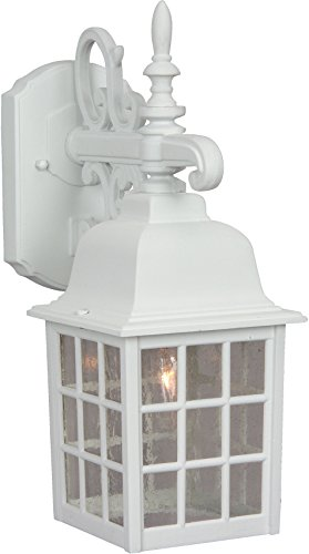 04 Grid Cage (Craftmade Z270-04 Wall Lantern with Seeded Glass Shades, White Finish)