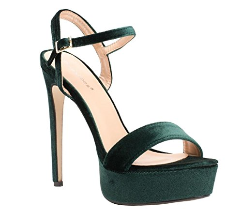 SHU CRAZY Womens Ladies Faux Suede Ankle Buckle Strap High Stiletto Heel Platform Open Toe Fashion Sandals Shoes - B9 Green qV68b8HGi