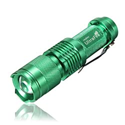 7W 300LM Mini CREE LED Flashlight Torch Adjustable Focus Zoom Light Lamp-Green(1 mode) from Spring Digi Center