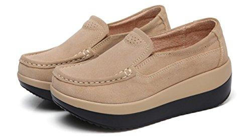 Plattform Loafer Sko Kvinner, Wedges Mid-heel Shake Sko Arbeid Pumper 2 Farger Størrelse 5,5 Til 9 Aprikos