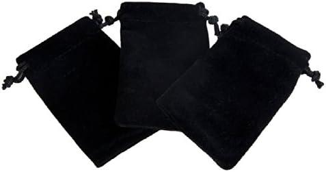 【店長セレクト】黒 アクセサリー用 高級ベロア調巾着 小物入れ ラッピング スエード ベルベット アクセサリー 収納 (30枚)