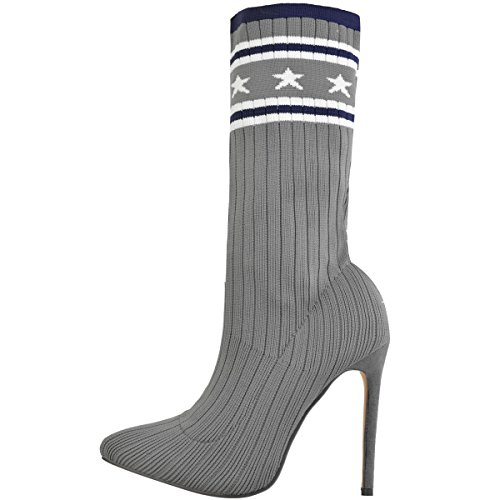 Moda Thirsty Mujeres Star Sock Botines De Tacón Alto Stretchy Knit New Size Grey Knit