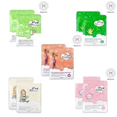 pure-skin-esfolio-essence-facial-mask-sheet-package-5types-100-sheet-red-ginseng-aloe-collagen-pearl