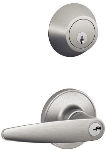 Schlage JC60V DOV 630 Security Set Single Cylinder Deadbolt and J54 Keyed Entry Dover Lever, Satin Stainless Steel Finish