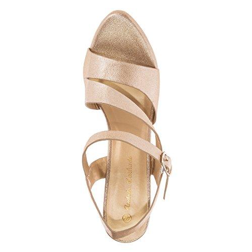 Andres Machado AM5157.Sandalias en Soft.Mujer.Tallas Pequeñas/Grandes. 32/35-42/45. Oro