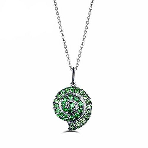 Green Tsavorite Solid 14k White Gold Pendant Unique Shell Shape 925 Sterling Silver Necklace Women