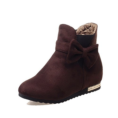 Brown Solid Boots AmoonyFashion Women's Imitated Pull Top Low Heels On Low Suede PanCRq6wO