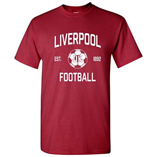 Liverpool UK Home Kit World Classic Soccer Football Arch Cup T Shirt - Large - Cardinal