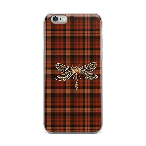 iPhone 6 Plus/6s Plus Pure Clear Case Cases Cover Dragonfly in Amber Inspired Plaid w. Dragonfly