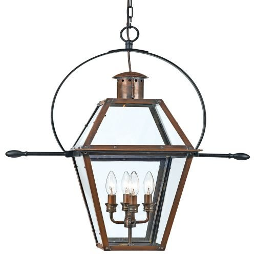 Quoizel RO1914AC Rue de Royal Outdoor Hanging Lantern, Aged Copper