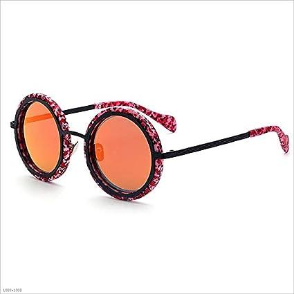 Ouyangyan Marco de Madera de Color Redondo de la Flor Gafas de Sol polarizadas de protección