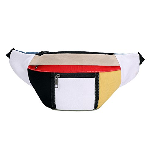 RONSHIN Womens Sports Waist Bag Color Patchwork Pocket Utility Gadget Belt Organizer Pouch (Patch Bag Utility)