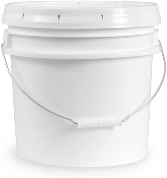 3.5 Gallon White Bucket & Lid - Set of 5 - Durable 90 Mil All Purpose Pail - Food Grade - Contains No BPA Plastic (3.5 Gal. w/Lids - 5pk)