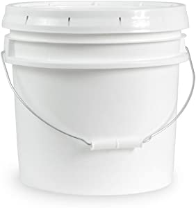 3.5 Gallon White Bucket & Lid - Set of 3 - Durable 90 Mil All Purpose Pail - Food Grade - Contains No BPA Plastic (3.5 Gal. w/Lids - 3pk)