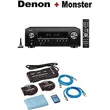 Denon AV Receivers Audio & Video Component Receiver Black (AVRS640H) + Monster Home Theater Accessory Bundle
