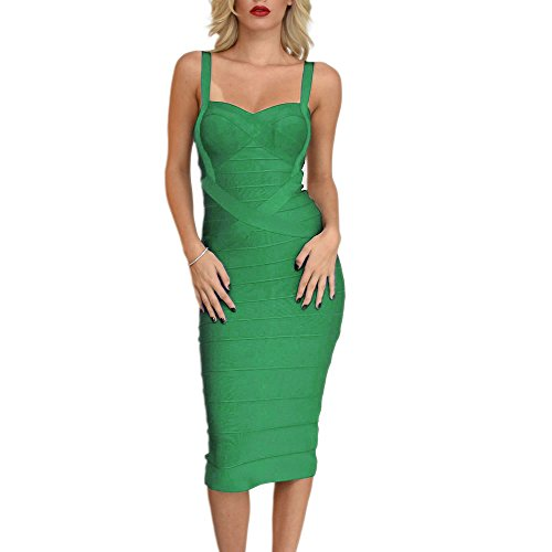 HLBandage Midi-Calf Solid Color Spaghetti Strap Rayon Bandage Dress(S,Green) ()
