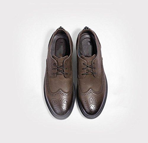 Kaki Rétro en LEDLFIE en Hommes Cuir Sculptés Bullock Chaussures Britannique Chaussures Cuir qH7p7a