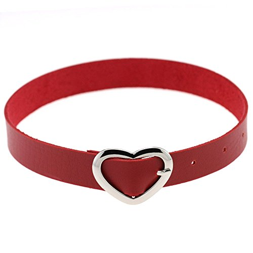 Tongyide Women Favorite Vintage Bijoux Fine Jewelry PU Leather Funky Collar Choker Necklace Heart Ring Punk Goth Style
