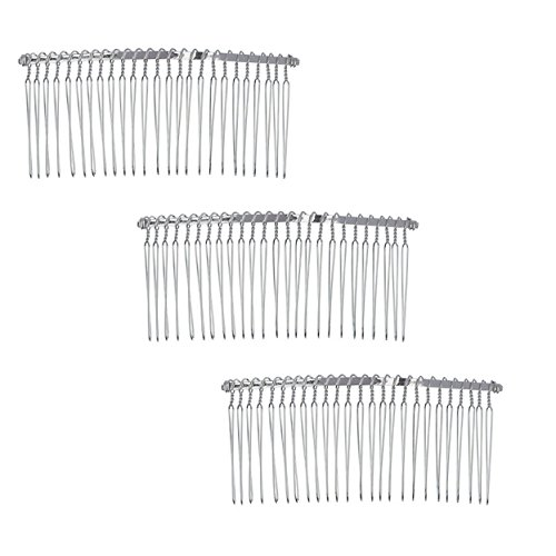 3 Pcs Twist Wire Silver Hair Combs Wedding Bridal Veil Accessory Crafts 4.5 Inch