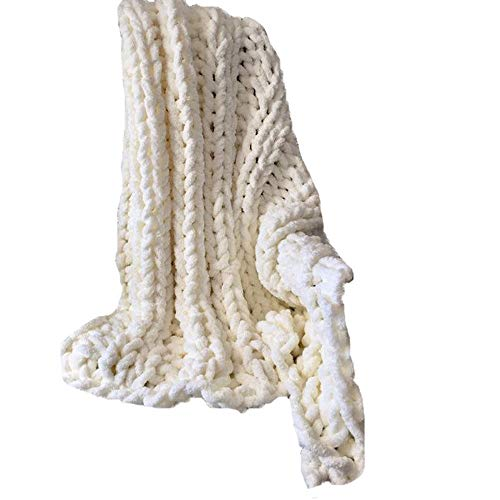 Giant Knit Chenille Blanket Throw Hand Knit Fluffy Blanket Creamy Hand Knitted Blanket for Family Xmas Gift by FAU-Hand Knit Blanket (Image #3)