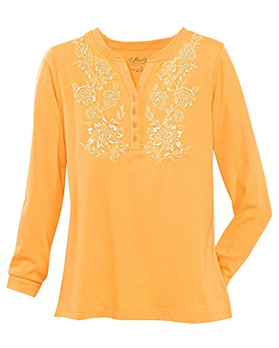 National UltraSofts Long-Sleeve Embroidered Henley, Marigold, Petite Small