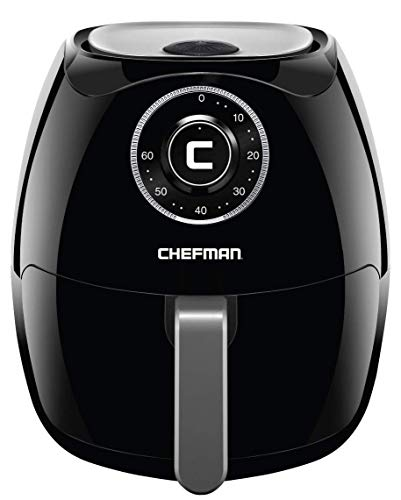 Chefman 6.5 Liter/6.8 Quart Air Fryer with Space Saving Flat Basket Oil Hot Airfryer with Dishwasher Safe Parts 60 Minute Timer and Auto Shut Off, BPA Free, Family Size, X-Large, Manual (Renewed)