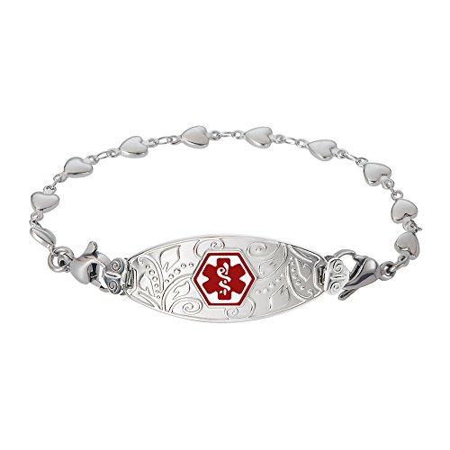 Divoti Custom Engraved Lovely Filigree Medical Alert Bracelet -Heart Link Stainless -Red-6.5'' by Divoti