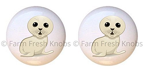 SET OF 2 KNOBS - Seal - Baby Animals - DECORATIVE Glossy CERAMIC Cupboard Cabinet PULLS Dresser Drawer KNOBS (Drawer Seal)